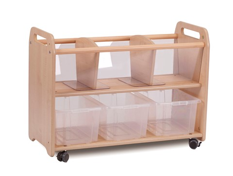 Mobile Clear View Browser Storage Unit with 3 Clear Tubs