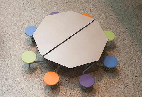 Octagonal Mobile Folding Table with 8 Seats